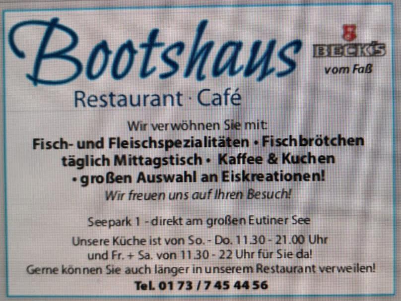 Bootshaus Eutin - Öffnungszeiten